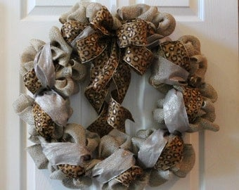 Ready to Ship!!! Cheetah Print and Burlap Wreath, Front Door Wreath,