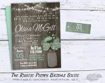Rustic Wedding Shower Invitation, Mason Jar Bridal Shower Invitation, Mint Green Spring Wedding Shower Invites Printable, String Lights DIY