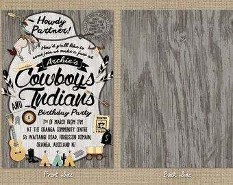 Customised Kids Birthday Party Invitation - Cowboys and Indians Theme