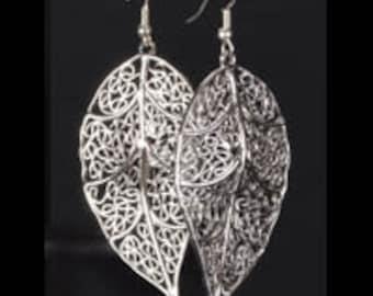 Silver Drop Earrings - Big Leaf