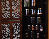 Beautiful vertical spice cabinet / spice rack for kitchen with amazing custom doors (ebony and walnut)