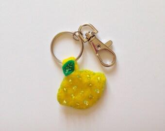Lemon Felt Keyring/ Felt Keyring/ Lemon Felt Keychain