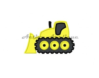 Construction Bulldozer Machine Applique Embroidery Design Fits Hoops 4x4 5x7 6x10 Instant Download DIY