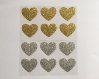 Gold Glitter Heart Stickers/Silver glitter/Envelope seals, invitations, thank you cards/notes/Wedding, bridal/baby shower, engagement party/