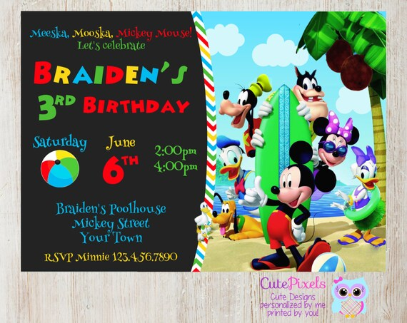 mickey mouse clubhouse invitation  summer invitation