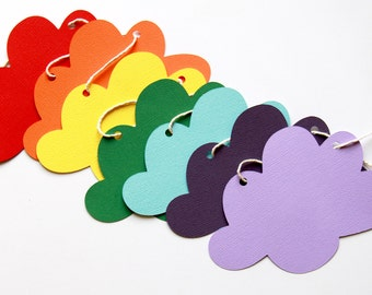 Rainbow Cloud Bunting   Colourful Bunting   Cloud Garland   Nursery Decor   1st Birthday Party Decorations   Paper Bunting