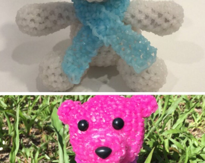 Color Changing Polar Bear Rubber Band Figure, Rainbow Loom Loomigurumi, Rainbow Loom Animal