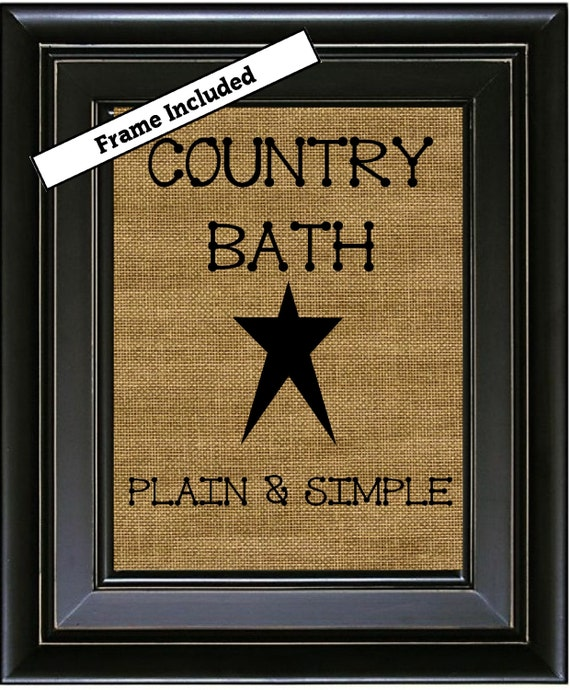 Items similar to bath prints country bath plain simple for Minimalist country decor