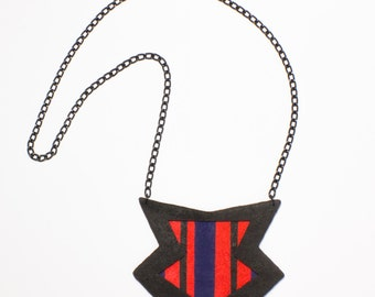 Geometrical necklace /Polymer clay fashion statement jewel handcrafted stylish necklace