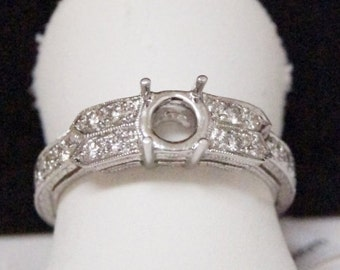 18 k white gold and diamond semi mount,engraved engagement ring ,setting only, for 5mm round