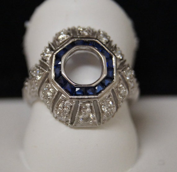 Antique inspired Art deco style 18k white gold diamond and