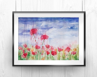 """Printable Flower Art Illustration, Abstract Wall Art, Smudged Drip Paint, Poppy Field and Nature, 8""""x12"""" and 13""""x20"""""""