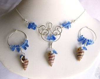 Silver Seas - Boho Blue Glass, Seashell, and Silver Necklace & Earrings Beach Set by The Celtic Elf / Silver Seas Collection