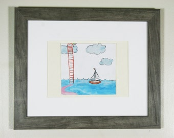 sunrises and sailboats original framed illustration
