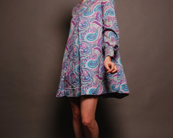 Vintage Mod Hippie Paisley Empire Mini Dress