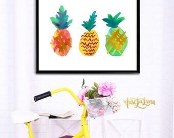 Printable Pineapple Art, Modern Pineapple Print, Original Art Print, Summer Pineapples, Colorful Pineapples, Pineapple Wall Decor