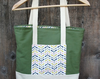 Organic Canvas Tote - Diaper Bag - 3 Pockets, Ivory, Green, - Ready to Ship