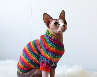 FREE SHIPPING, rainbow cat sweater, cat clothes, sphynx clothes, sphynx sweater, sweater for sphynx, clothes for cat, clothes for sphynx