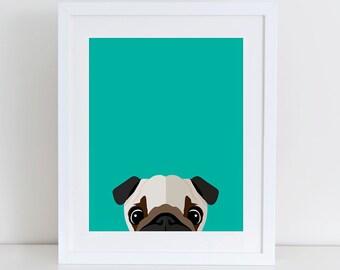 Pug Art Print, Instant Download,  Printable Home Decor, Digital Art Print, Pug Lovers Print, Pug art Print, Pug Dog Decor, Dog wall Art