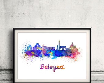 Bologna skyline in watercolor over white background with name of city 8x10 in. to 12x16 in. Poster Wall art Illustration Print  - SKU 0531
