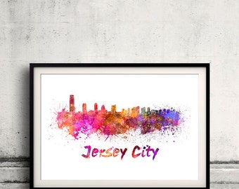 Jersey City skyline in watercolor over white background with name of city 8x10 in. to 12x16 in. Poster art Illustration Print  - SKU 0548