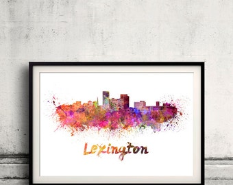 Lexington skyline in watercolor over white background with name of city 8x10 in. to 12x16 in. Poster art Illustration Print  - SKU 0570
