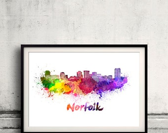 Norfolk skyline in watercolor over white background with name of city 8x10 in. to 12x16 in. Poster art Illustration Print  - SKU 0572