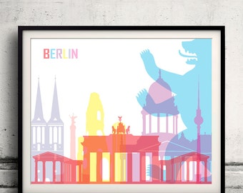 Berlin pop art skyline 8x10 in. to 12x16 in. Fine Art Print Glicee Poster Gift Illustration Pop Art Colorful Landmarks - SKU 0630