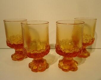 Vintage Franciscan Madeira Orange/Pumpkin set/4 glass goblets