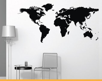 World Map | Removable Wall Decal Sticker | MS039VC