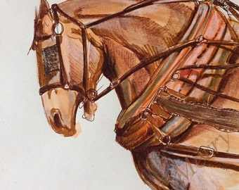 """An original equine art drawing, entitled """"Pull!"""""""