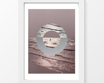 "Mother Oceania / Ocean bathing pink grey printable art art home decor downloadable art to print at home or at a print shop / A4 and 8.5""x11"""