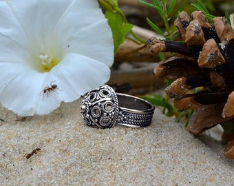 """Vintage ring. Ring """"Boyar"""". Ring Dome. Ancient art. Woman's ring. Aristocratic Jewels"""