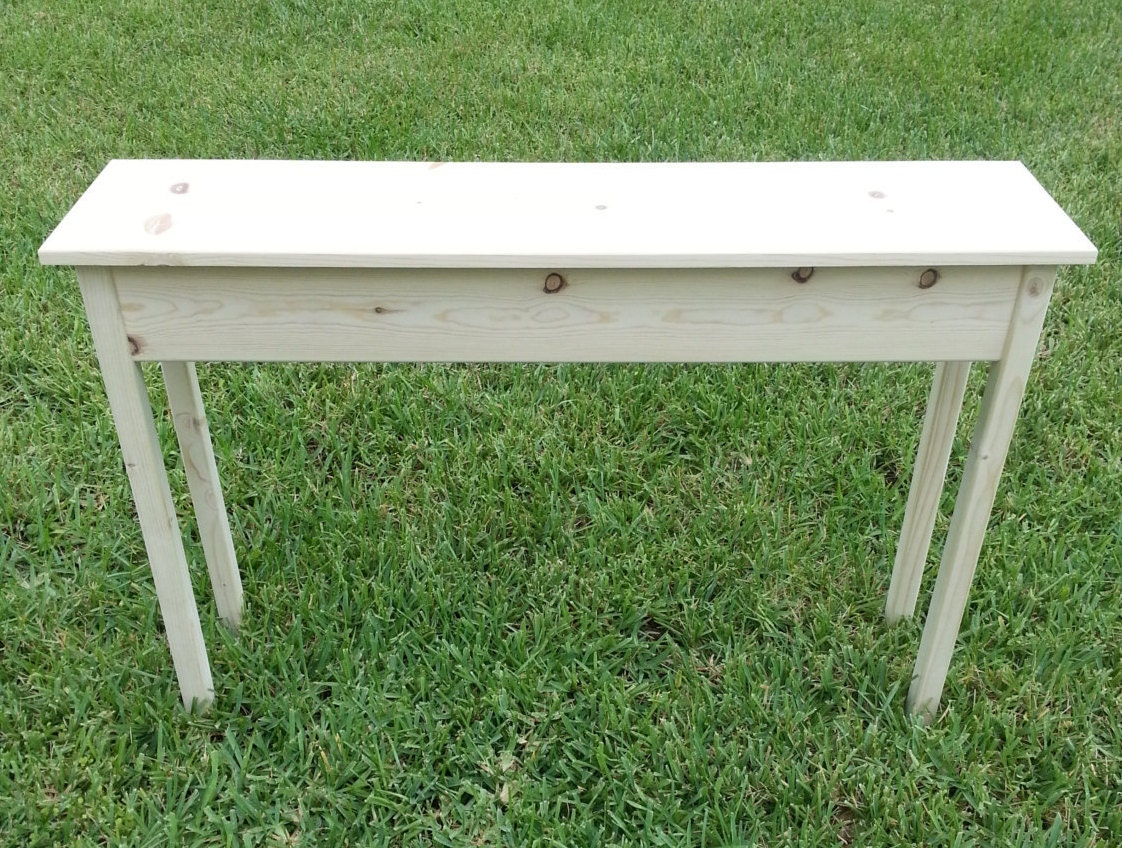Unfinished pine console sofa wall table 46 long x for Sofa table unfinished