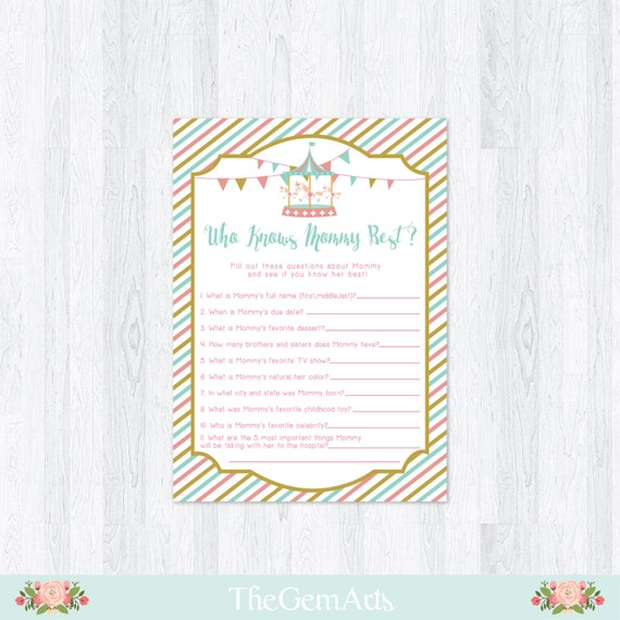 carousel baby shower game diy printable baby shower game who knows