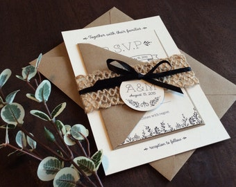 Rustic Handrawn Wedding Invitation Sample