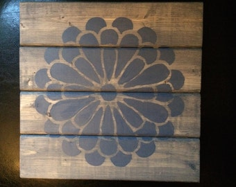 Rustic Flower Wooden Wall Hanging
