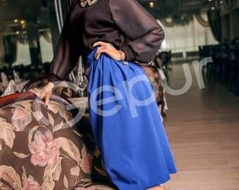Cobalt blue skirt, midi skirt, circle skirt