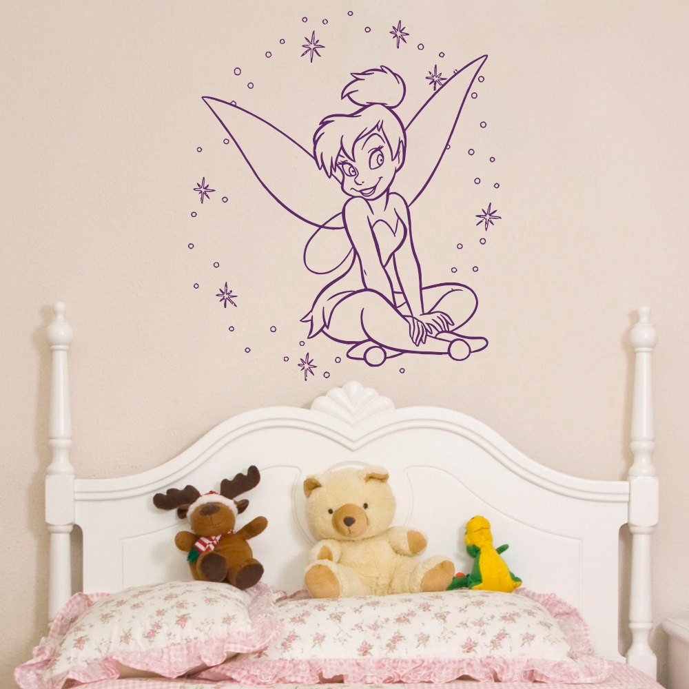 Tinkerbell wall decal little princess silhouette fairy girl details tinkerbell wall decal amipublicfo Images