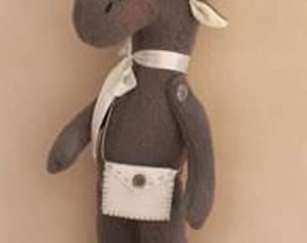DIY Kit and pattern Elk Moose Tilda style doll sewing pattern and dolmaking materials fleece and cotton fabric Softie stuffed Teddy toy