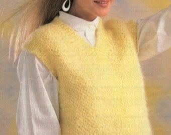 Ladies V Neck Slipover Knitting Pattern 30 - 40 inches