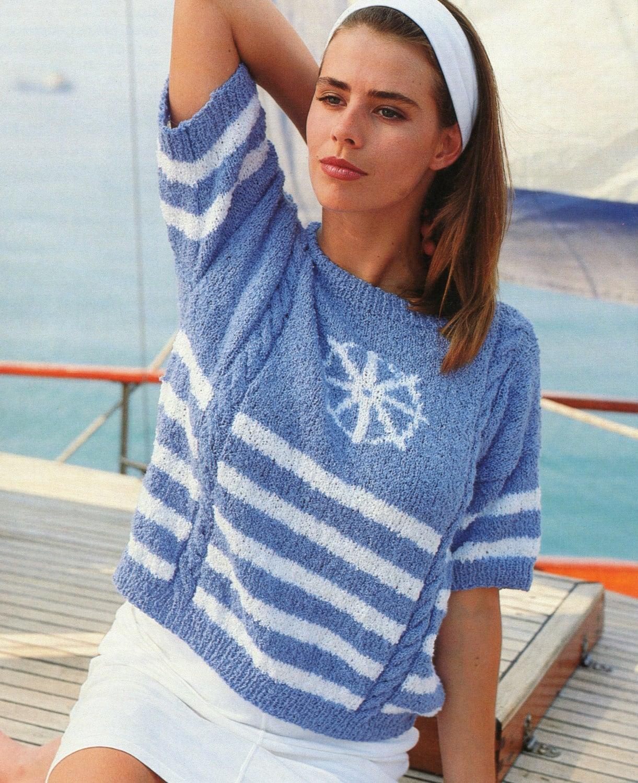 Ladies Nautical Sweater Knitting Pattern
