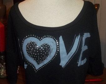 Vintage 80's Cropped Love Shirt Gypsy Boho Bohemium Midrif Top