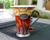 Ceramics and Pottery Coffee Mug, Red Tea Mug, Unique Ceramic Mug, Cute Handmade Mug, Handcrafted Mug, Art Pottery, Danko Pottery