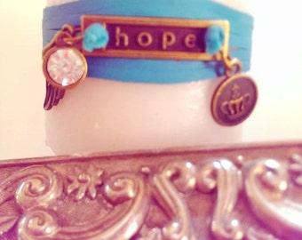 Hannah's Hope Leather Wrap Bracelet - Turquoise