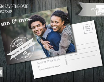 Save the Date Photo Calendar Postcard - Custom Marsala Accent Cards - Save-the-Date - Photo Postcards - HADEN style - Bespoke Engagement