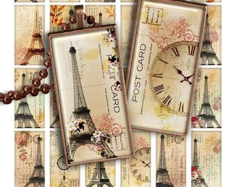 "75% OFF SALE Digital collage sheet Eiffel Tower PR007 1x2"" Domino image Printable Download 1x2 inch rectangle glass pendant resin digital"