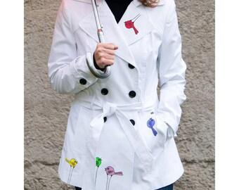 Original hand painted jacket, handpainted trench coat, original trench coat colourful colorful birds trenchcoat white cotton linen jacket
