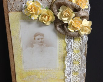 Blank Page Journal Diary Antique Photo Embellished Journal Mixed Media Art Journal