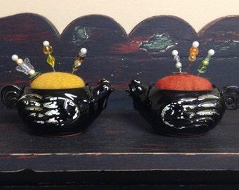 Primitive Folk Art Pincushion Pair